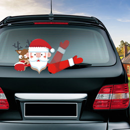 plastic window stickers for christmas 2019 - Rylybonds New Christmas Santa Claus Waving Car Sticker Rear Window Wiper for Auto Stickers And Decals accessories for ca