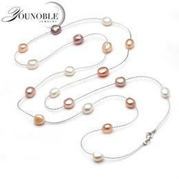 $enCountryForm.capitalKeyWord Australia - Genuine Freshwater Multi Layer Long Pearl Necklace Woman,wedding Trendy Natural Pearl Necklace Girls Jewelry White Anniversary T190626