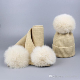 Cashmere Beanies Australia - New brand Mink and fox 16cm real fur ball cap pom poms baby kids winter hat and Scarf Set knitted beanies hats Thick scarves suit