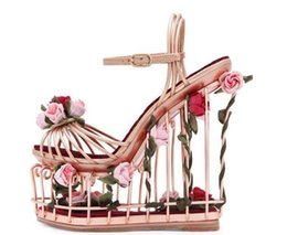 Wholesale Woman Caged Style Platform Sandal Gold Metal Striped Ankle Strap Wedge Sandal Cutouts Flower Heels Sandals Dress Shoes