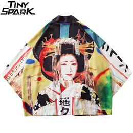 Japanese kimono geisha online shopping - 2019 Japanese Kimono Jacket Geisha Printed Harajuku Hip Hop Men Japan Style Streetwear Jackets Summer Thin Clothes Loose Kimono