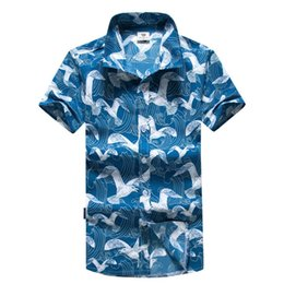 Wholesale blouse birds print for sale – custom Chamsgend Mens Husband Hawaii Traveling Seagulls Birds Print Turn Down Collar Blue Shirt Quick Dry Blouse Beach Top