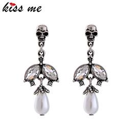$enCountryForm.capitalKeyWord Australia - Women Imitation Pearl Teardrop Drop Earrings Clear Glass Crystal Skeleton Vintage Earrings Costume Jewelry