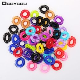 Wholesale Candy Colored Telephone Line Hair Ring Hair Accessories Rope Spring Rubber Band Mix