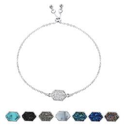 $enCountryForm.capitalKeyWord Australia - Fashion Druzy charm wrap bracelets Geometric shape Natural stone Gold Silver chains adjustable Bangle For women DIY Jewelry in Bulk
