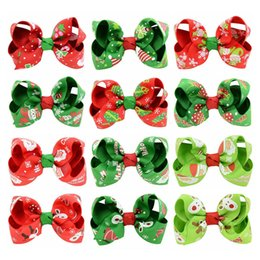 kids christmas hair bows Canada - Free DHL Christmas Baby Girls Hair Clips 30 Colors Grosgrain Ribbon Bows With Clips Childrens Xtmas Hair Accessories Kids Barrette Hairpins