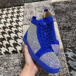perfect flooring Australia - High quality designer luxury blue suede sneakers with Strass sneakers red shoes, ladies, men's perfect party wedding dress and famous sneake