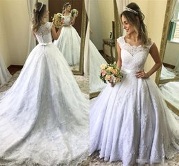 Summer Wedding Pictures Australia - Elegant Ball Gown Cap Sleeve Wedding Dresses Dubai Arabic Style Appliques With Buttons Belt Summer Wedding Gowns