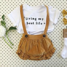 Summer Clothes Uk Australia - UK 2PCS Toddler Kids Baby Girls Summer Clothes Cotton Tops+Bib Pants Outfits Set