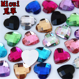 crystal stones flat back rhinestones UK - Micui 100pcs 14mm Heart Acrylic Rhinestones Flat Back Stones rhinestones Crystal for clothing crafts Decorations DIY ZZ122