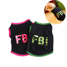 Wholesale fbi clothing for sale – custom Summer Cotton Breathable Pet Dog Clothes FBI Camouflage Letter Print Small Dogs Vest T shirt XS L Puppy Cats Vests Clothing