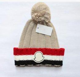 Pom Beanie Hats For Men Australia - New Stamping winter hats for men women knit Pom Poms hat cap Brand Beanie Hat LadiesThicken Hedging Warm Skullies Female Bone