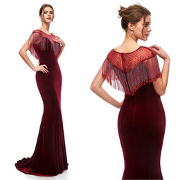 vintage velvet gown UK - High Quality Burgundy Velvet Mermaid Prom Party Dresses 2019 Sexy Sheer Neck Elegant Vestidos De Festa Evening Occasion Gowns with Tassels