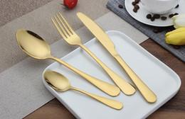 Forks Knives Spoons Australia - High-grade Gold Cutlery spoon fork knife tea spoon Matte Gold Stainless Steel Food Silverware Dinnerware Utensil SL5025 20180920#