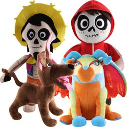 old movie decorations UK - 3 Styles Coco Plush Doll Toys 30cm Cartoon Anime Doll Mig Hector Dante Dog Stuffed Doll Kids Gift Home Decoration