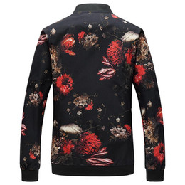 xl floral bomber jacket Australia - New Floral Jacket Coat Men Flower Printed Mens Bomber Jackets Plus Size 5XL Windbreakers Coats Casual Slim Fit Baseball Jackets Male l