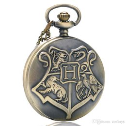 Chinese  Fantasy Cool Children Bronze Hogwarts Theme Fob Quartz Pocket Watch Full Hunter Numerals Pendant Clock Best Gift for Movie Fans with Chain manufacturers