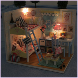model house kit diy UK - Creative DIY Doll House Wooden Toy Model Miniature Dollhouses LOL Dolls Furniture Kit Toys For children Birthday Gifts MX200414