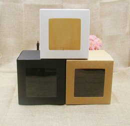 $enCountryForm.capitalKeyWord Australia - 7*7*7cm 3color white black kraft stock paper box with clear pvc window .favors display  gifts&crafts paper window packing box