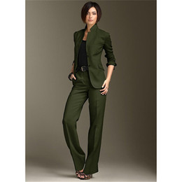 b3b26fb12 Pants Jacket Business Women Suits Chinese Necklace Green Dark Pants Suit  Ladies Suit Pant Suits Women Style Office Uniform