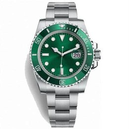 mens sapphire crystal sport watches Australia - 40MM Luminous Green Dial Sapphire Crystal Mens Watch Watches Auto Date Submairn Automatic Rotatable Stainless Steel Bezel Sport Wristwatches