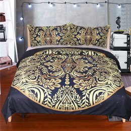 Comforters Flower Print Australia - 3pcs Comforter Bedding Set Twin Full Queen King Galaxy Golden Flower Printed Bohemian Golden Bedclothes 3d Duvet Cover Sheets
