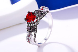Men Blue Stones Ring Australia - Women's Skull Ring Pink Red Black Purple Blue Green CZ Stone Punk style Men Party Ring Birthstone skull men's jewelry Rings