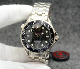 Опт Лучшие бесплатные 42 мм автоматические механические наружные мужские часы Часы черный циферблат с браслетом из нержавеющей стали вращающийся безель прозрачная задняя крышка