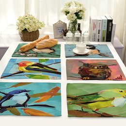 modern table mats NZ - CAMMITEVER Birds Oil Painting Placemat Fashion Dining Table Mat Pads Bowl Pad Waterproof Table Cloth Pad Slip-Resistant Tray