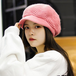 beanie ladies beret NZ - Women Beret Flat Cap Korean Winter Spring Fur Wool Knitted Hats Baret Beanies Fashion Ladies Girls Warm Fleece Caps Boina