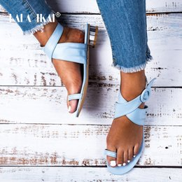 Ankle Strap Sandals Pu Leather NZ - LALA IKAI Women Casual Summer Shoes PU Leather Solid Color Buckle Strap Low Heels Ladies Sandals Chaussures Femme 014A3250-4