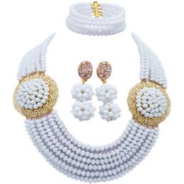 $enCountryForm.capitalKeyWord Australia - Fashion White Costume African Beads Jewelry Set Crystal Nigerian Wedding Necklace Bracelet Earrings Sets 6LPH09