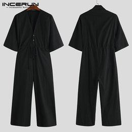 black jumpsuit wide legs NZ - Fashion Men Jumpsuit Solid V Neck Chic Loose Casual Romper Half Sleeve Pants High Street Men Wide Leg Overalls INCERUN Plus Size