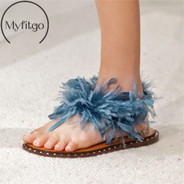 fashion show sandals NZ - Myfitgo Brand Summer Ostrich Hair Fashion Sandals Women's Flat Flip Flops Rivets Fur Show Party Shoes Real Feather Casual Sandal