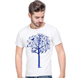 $enCountryForm.capitalKeyWord UK - Avian t shirt Blue bird tree short sleeve tees Cute design tops Fadeless print clothing Pure color colorfast modal tshirt