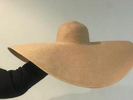 Paper Straws Hats NZ - 01812-shi new desige summer handmade 25cm big wind brim straw paper sun cap men women leisure holiday beach hat