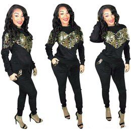 two piece club clothing Australia - Autumn Winter Women Tracksuit suit Heart shaped Sequins Tops and Pant Two Piece Set Club Wear sportswear sexy home clothing