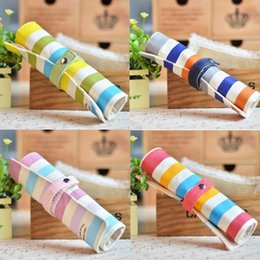 $enCountryForm.capitalKeyWord Australia - Cute Colorful Stripes Roll Pencil Bag Cute Canvas Large Capacity Stationery Creative For Girl School Supplies 1Pcs Fashion