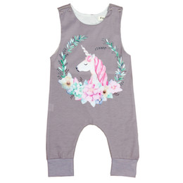 Wholesale gray rompers resale online – Infant Jumpsuits Unicorn Portrait Western Style Gray Jumpsuit Crawling Knee Pads Sleeveless Round collar Boy girl Rompers
