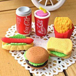 Stationery Wholesale Packs Australia - 7 Pack of Cute 3D Hotdog Sandwich Hamburger Eraser Rubber Pencil Set Stationery Kids Gift