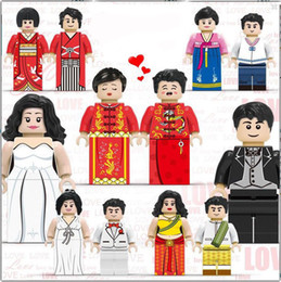 Model Figure Cartoon Girl Australia - 12pcs set Cartoon Couple Suits Girls Boys Building Blocks Bricks Models Children Figures Toys Educational Toys Gift
