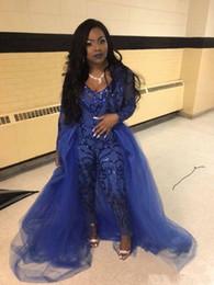 $enCountryForm.capitalKeyWord Australia - Royal Blue Sparkly Prom Dresses Jumpsuits Long Sleeve V Neck Sequined Evening Gowns Plus Size African Party Dress robes de soirée