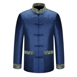 Wholesale costume national resale online - New Blue Chinese Traditional Men s Mandarin Collar APEC Leader Costume Jackets Coats Long Sleeve Chinese National Costume
