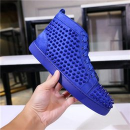 spikes shoes red Australia - 2020 Top Designer Sneakers Red Bottom shoe High Cut Suede spike Luxury Shoes Men and Women Shoes Party Wedding crystal Leather Sneakers T02
