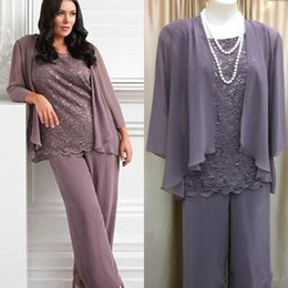 Purple Suit Pictures NZ - 2019 Real Photo Three Pieces Mother's Pants Suit Lace Chiffon New Fashion Purple Long Mother of the bride Dress Wedding Party Gown Cheap