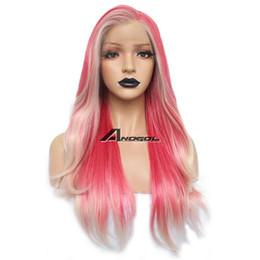 Kanekalon Lace Wigs NZ - Kanekalon Synthetic Lace Front Wig Pink Balayage Natural Wavy Hair Wigs
