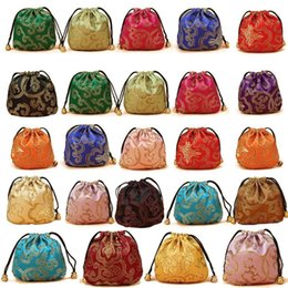 necklace storage pouches NZ - 10Pcs Lot Chinese Silk Satin Fabric Jewelry Gift Pouch Drawstring Necklace Bangle Bracelet Travel Storage Bag Packaging Bag
