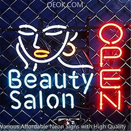 Best Bar Glasses Australia - 19X15 Inches Beauty Salon open Real Glass Neon Sign Beer Bar Pub Light Handmade Artwork BEST GIFT Fast Shipping