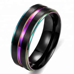 tungsten band sizes UK - wholesale black Tungsten Carbide colorful plated Men Women Wedding Band Ring Size 9-14