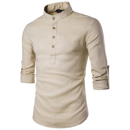 $enCountryForm.capitalKeyWord Australia - Khaki Cotton Linen Shirt Men 2019 Autumn New Rolled Up Sleeve Mens Casual Dress Shirts Slim Fit Henley Shirt Male Chemise Homme